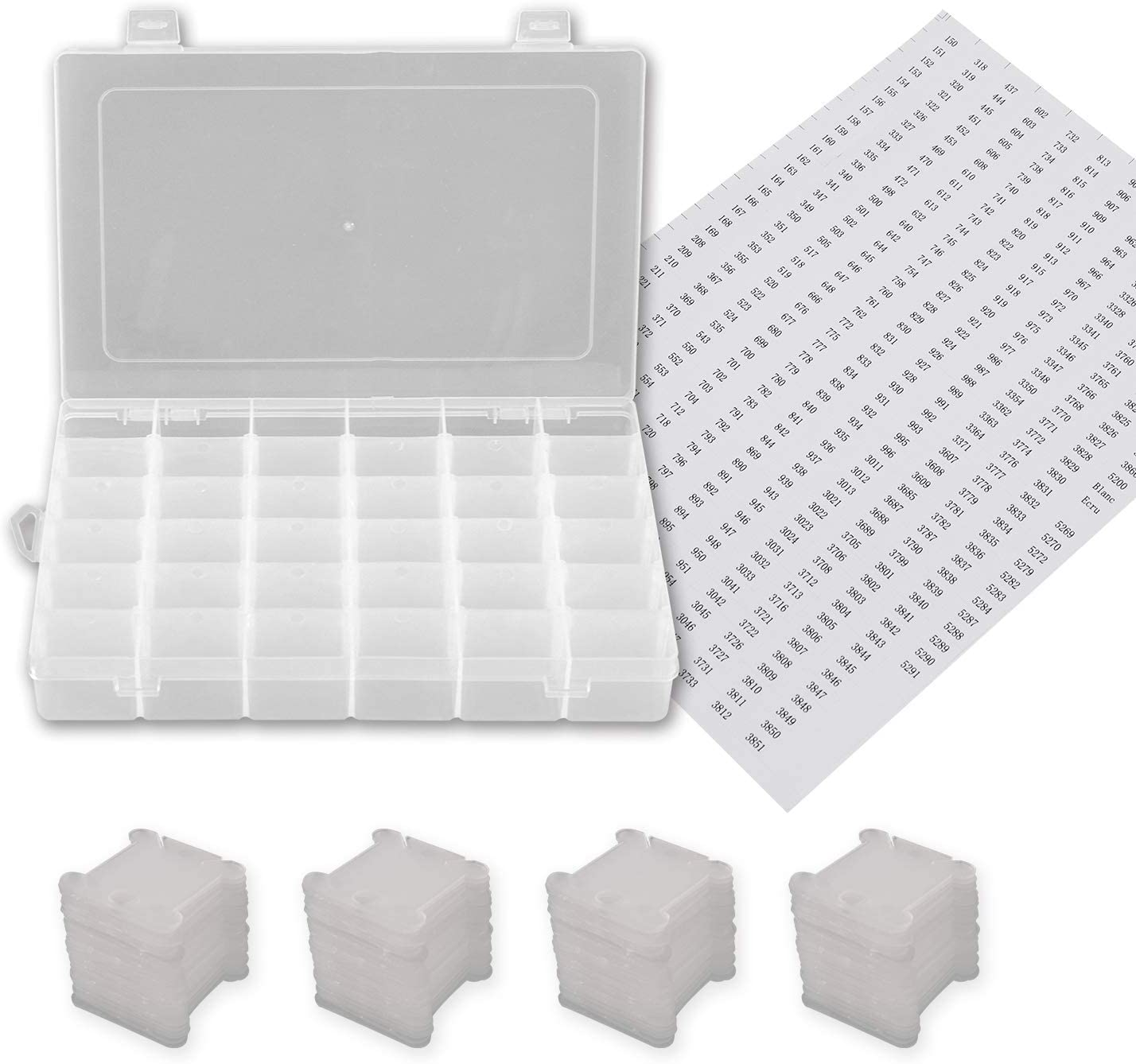 1 Pack 36 Grids Plastic Embroidery Floss Cross Stitch Organizer Box with 108 Pieces Floss Bobbins 712sjosMDUL