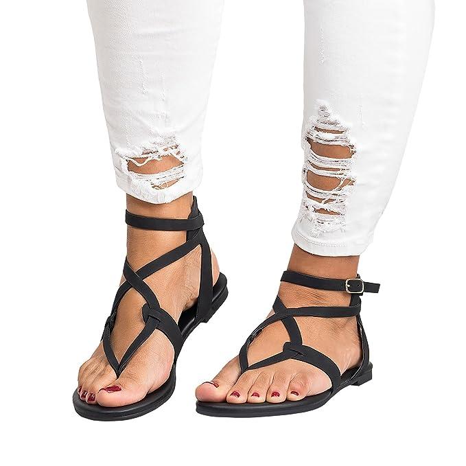 Women Summer PU Leather Cross Buckle Flat Shoes Ankle Strap Flip Flop Sandals Ca