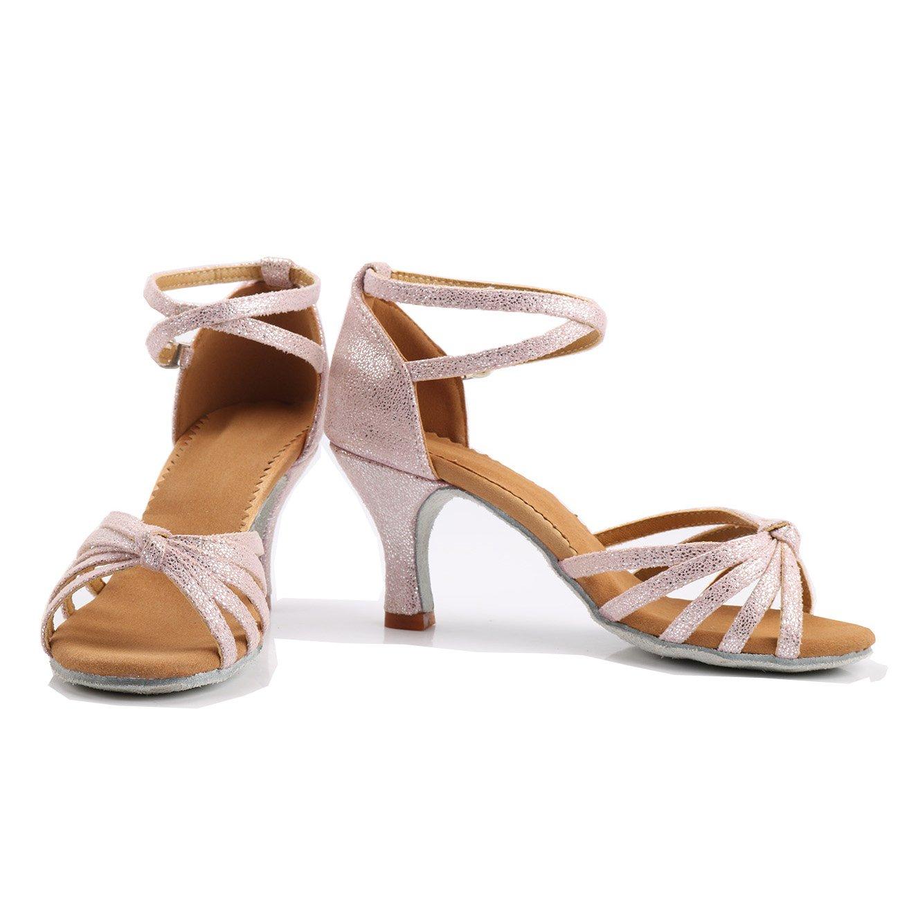 Tac/ón 5cm VESI-Zapatos de Baile Latino de Tac/ón Alto//Medio para Mujer Rosa 35