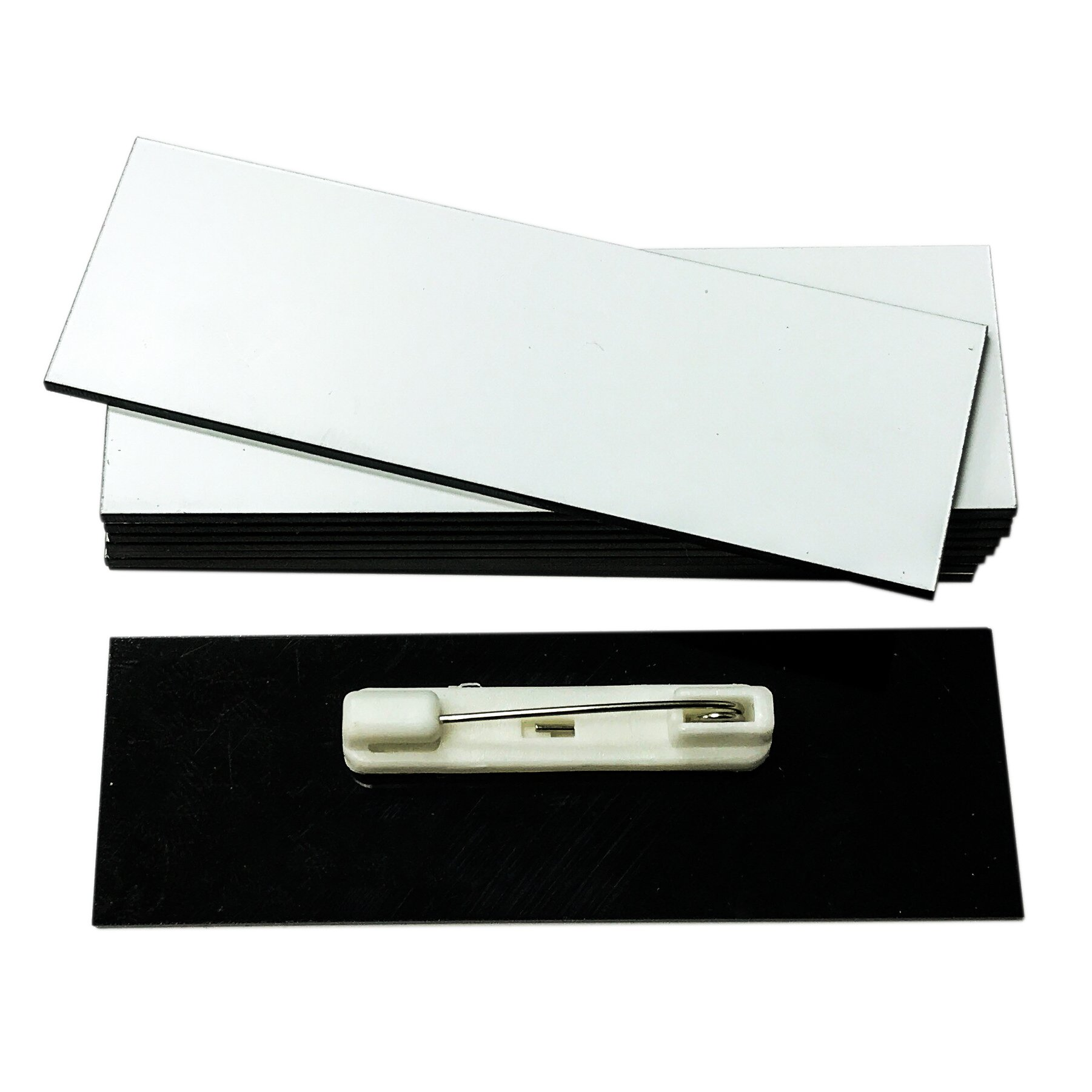 Name Badge Blanks with Pin - 25 Pack White 1'' X 3''