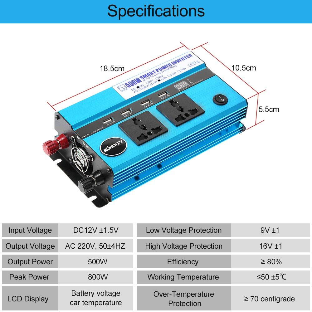 KKmoon 500W Onduleur de Voiture 12V DC /à AC 220V 50Hz avec 4 Ports USB Affichage de la Tension