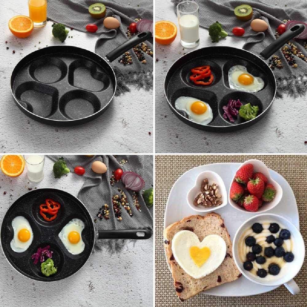 zhuao Poêle à Quatre Trous Au Jambon Et Aux œUfs, Poêle à Frire Antiadhésive Créative, Marmite sans Huile pour Le Petit Déjeuner Barbecue A B