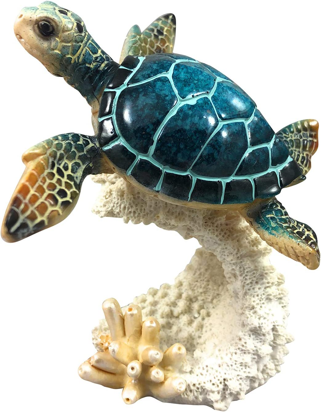 "Yellow Moon Gifts Blue Sea Turtle Coral Resin 5"" Figurine Statue Ocean Marine Decor"
