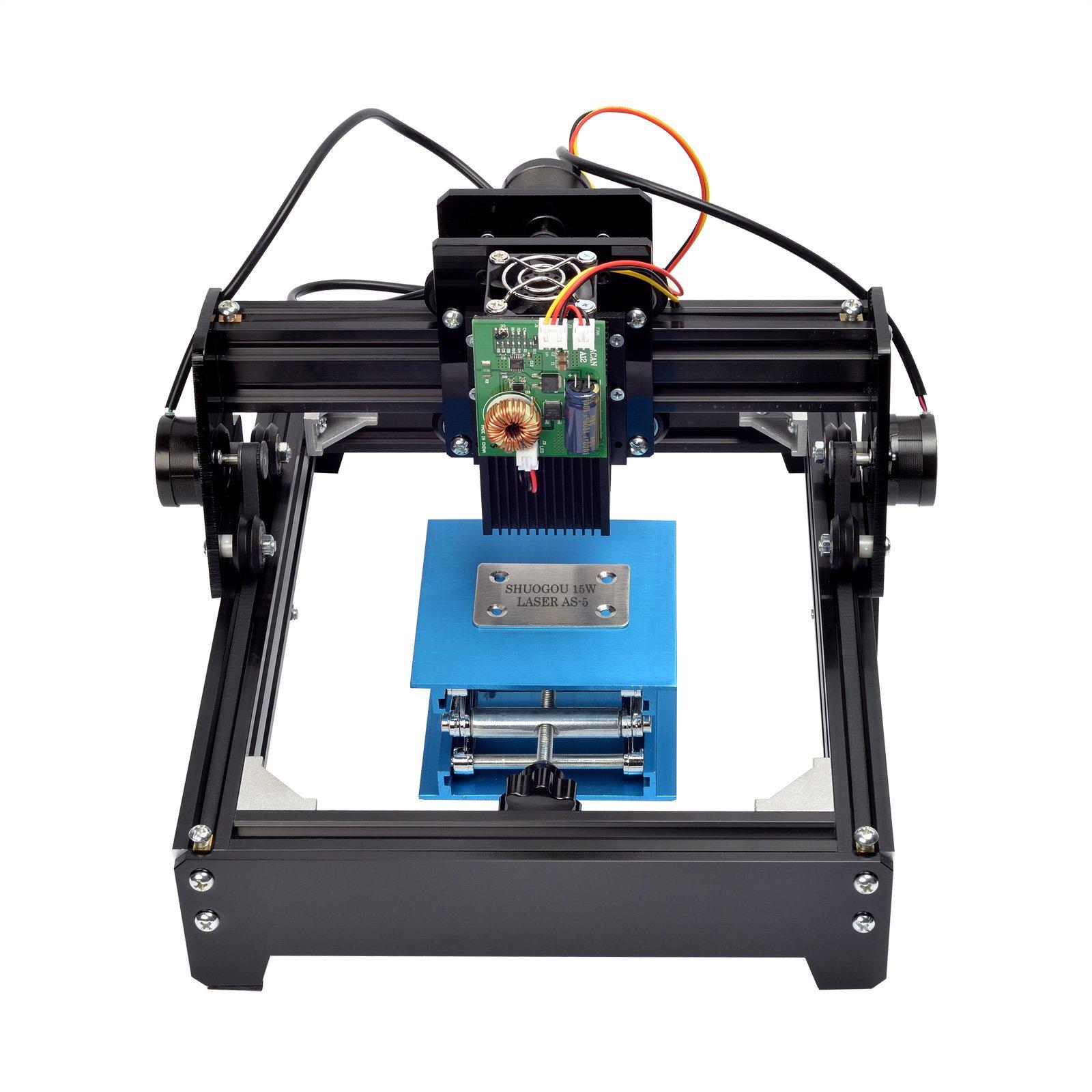 SHUOGOU 15000MW laser AS-5 Carving Machine, Mini Laser Engraving Machine Engraver DIY Logo Printer for Metal Steel Iron Stone Wood Image, 15W USB Personal CNC Desktop Laser Engraver by SHUOGOU