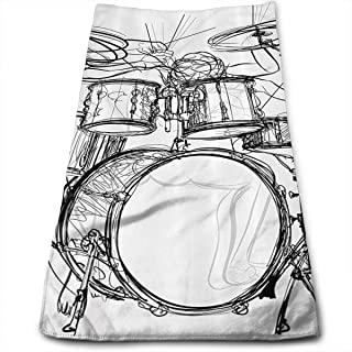 WCMBY Graffiti Sketch Style Drummer Music Inspired Monochrome 100% Polyester Towels Ultra Soft & Absorbent Bathroom Towels - Great Shower Towels, Hotel Towels & Gym Towels