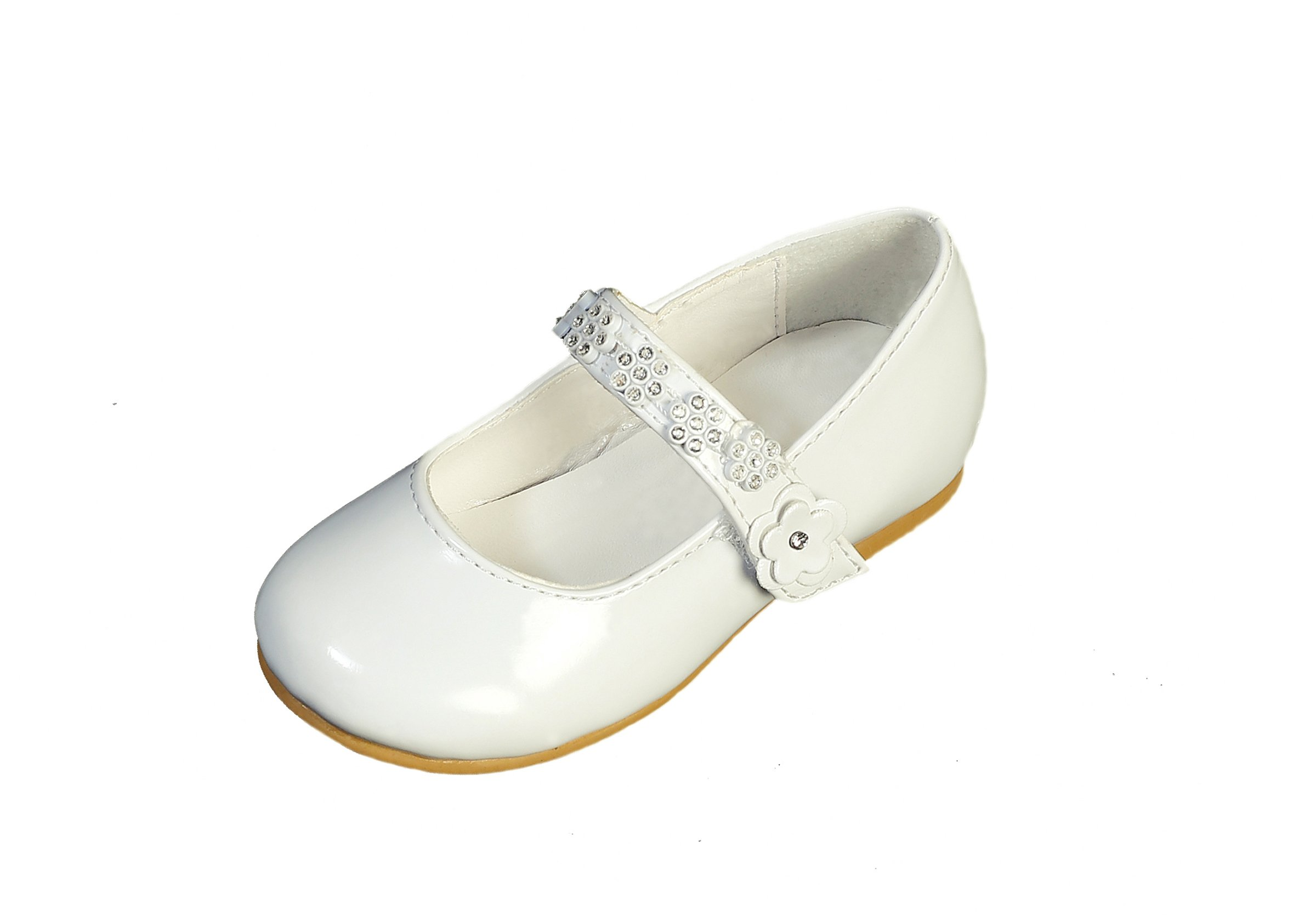 DressForLess Rhinestone Flowers on Strap Patent Flower Girl Shoes, Ivory, 7