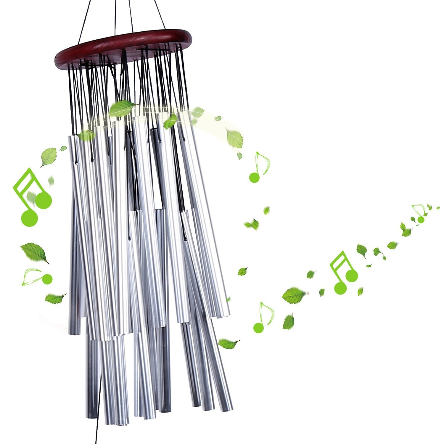 Yosoo Large Wind Chime 27 Tubes Silver Metal Tube Church Home Garden Hanging Decorations Outdoor Bells Windchime Bells