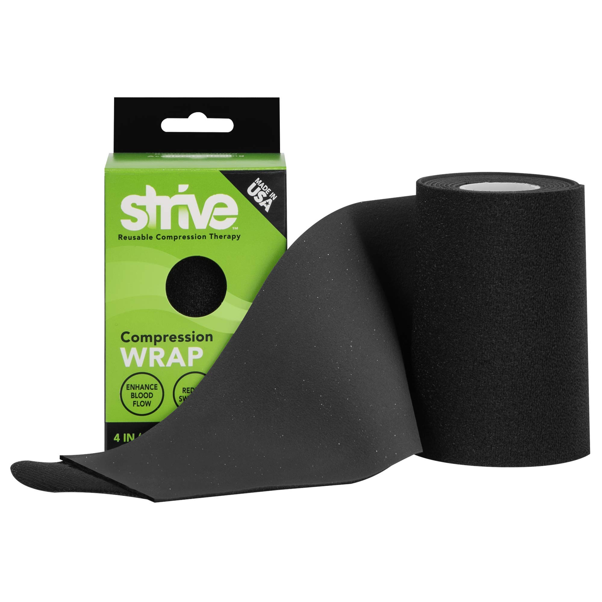 Strive Compression Therapy Wrap 4'' x 60'' | Black | Made in The USA by STRIVE