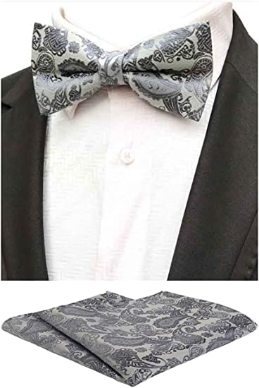 Men/'s Paisley Self-tied Bow tie and Pocket Square Hankie Gray Silver White