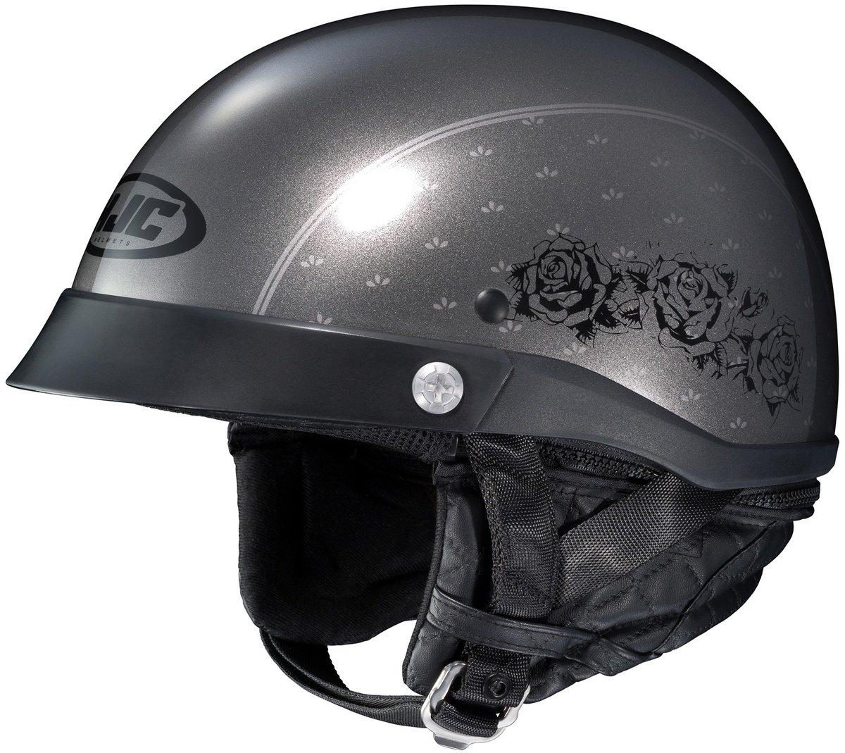 HJC CL-Ironroad Half Helmet - Black Rose (LARGE) (DARK SILVER)