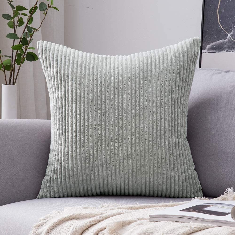 MIULEE Decoration Corduroy Soft Soild Decorative Square Throw Pillow Covers Cushion Cases Pillow Cases for Couch Sofa Bedroom Car 24 x 24 Inch 60 x 60 cm