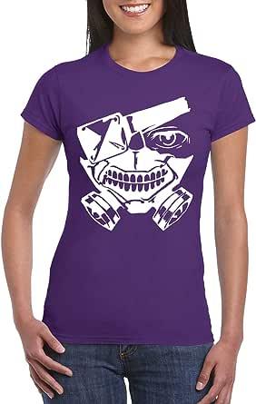 Purple Female Gildan Short Sleeve T-Shirt - Ken kaneki Mask design