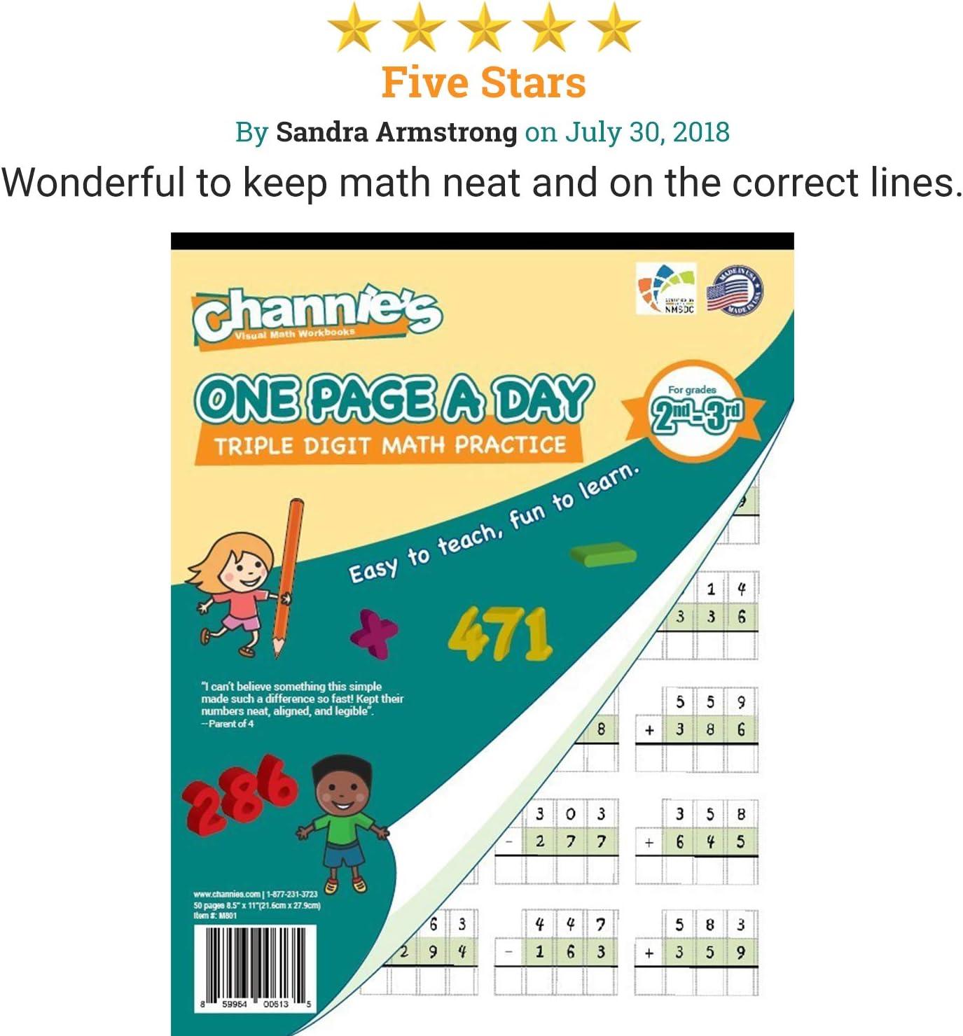 - Amazon.com : Channie's One Page A Day Workbook, Triple Digit Math