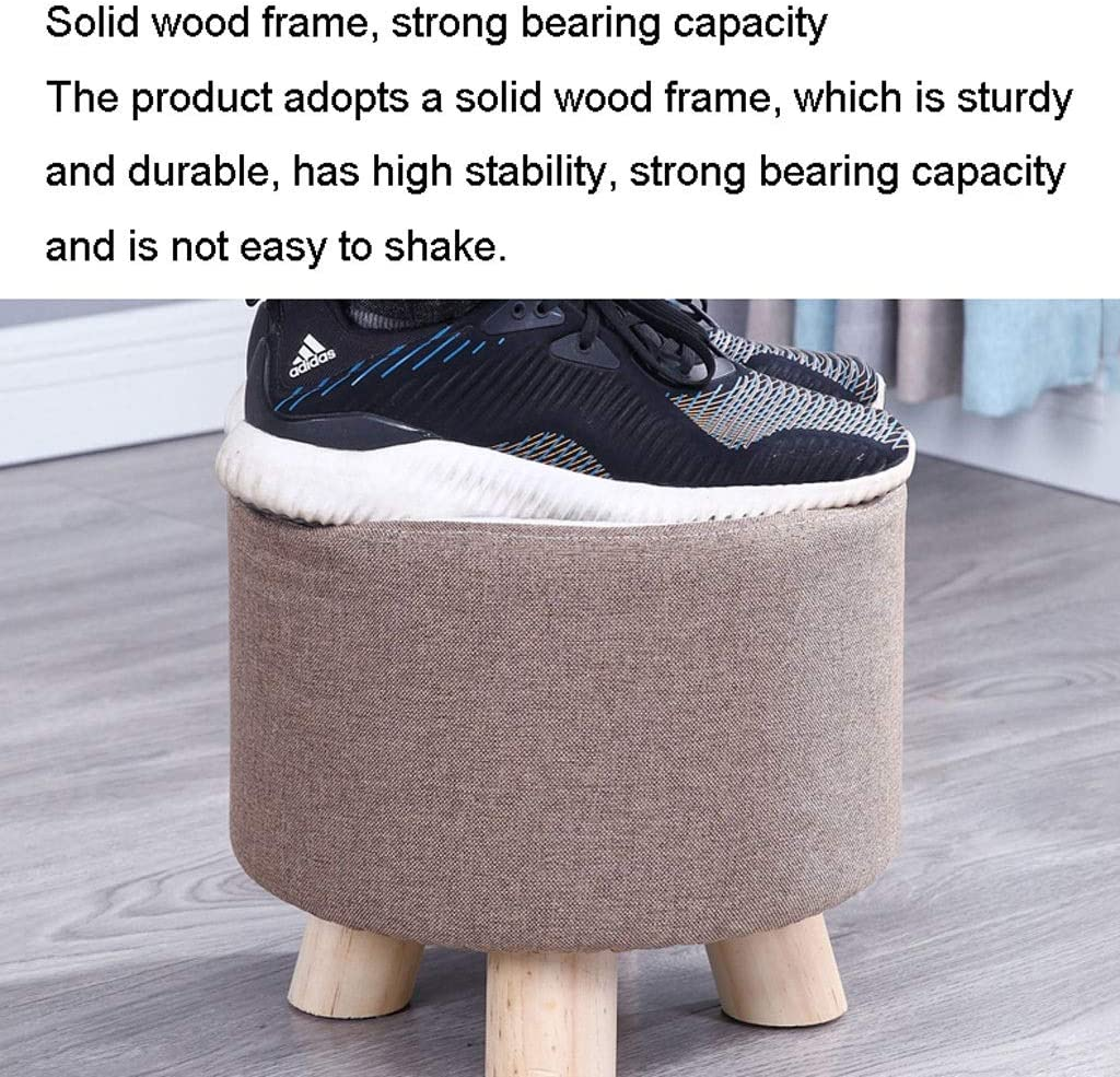 ZCX Solid Wood Straw Garden Living Room Round Stool Changing Shoe Stool Stool Stool Pier Sofa Stool Stools (Color : D) T