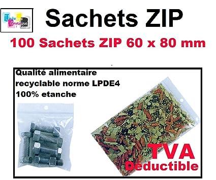 Lot 100 sachets /à fermeture zip format 40 x 60 mm 4 x 6 cm aux normes europ/éennes de production plastique pr/él/èvement pochettes qualit/é alimentaire 50 microns
