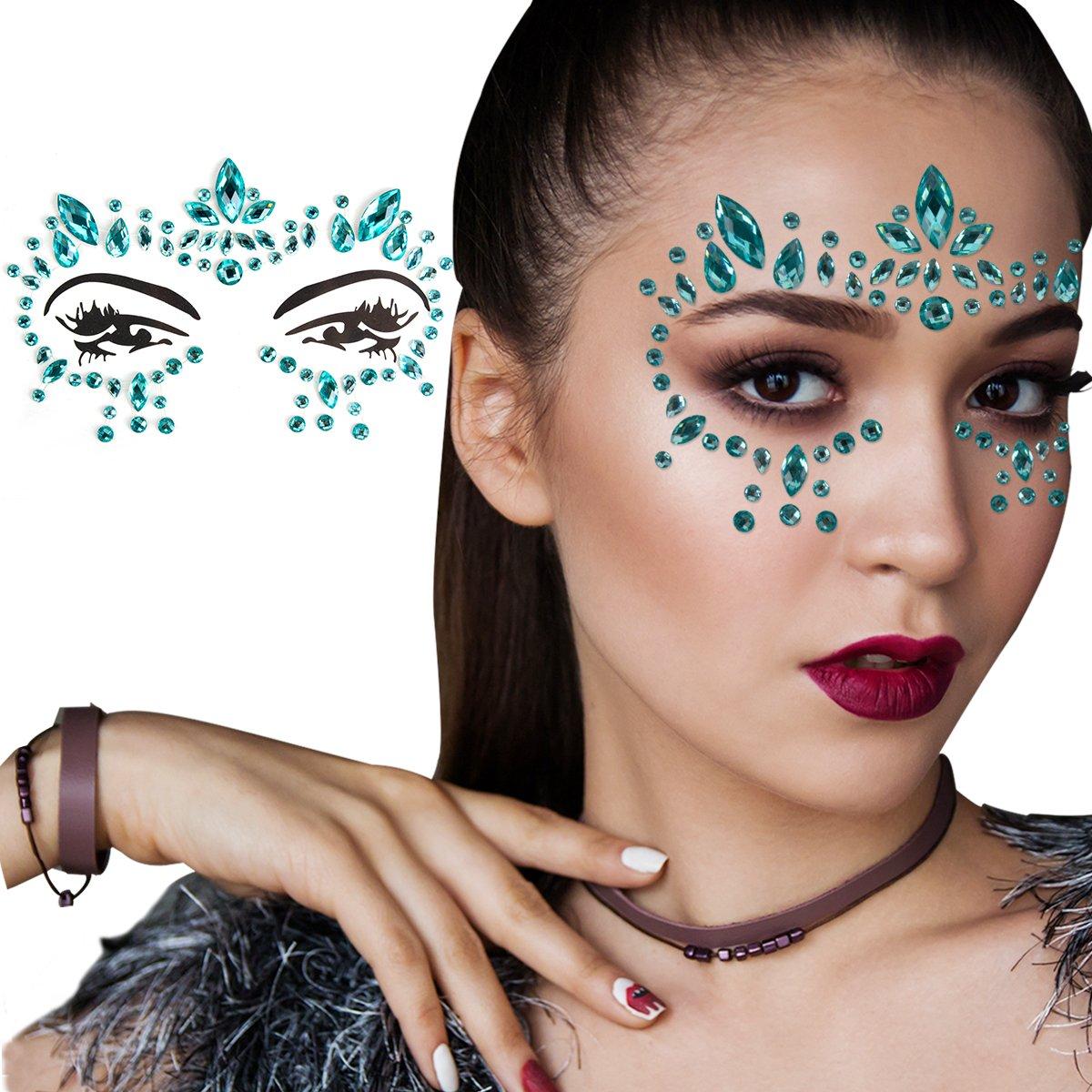 Zoylink Face Jewelry Crystal Sticker Fashionable Removable Rhinestone Sticker Eye Gem