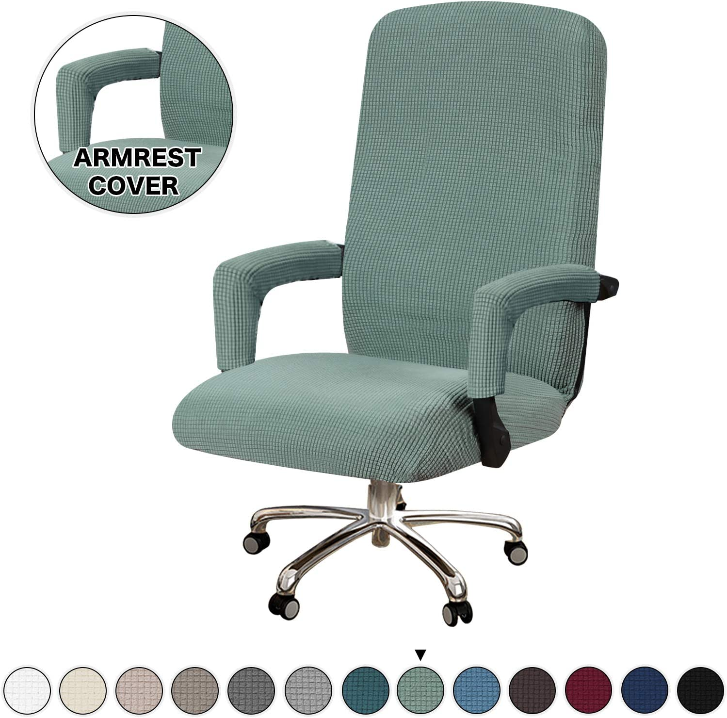 Turquoize Office Chair Cover Jacquard Office Computer Chair Covers Rotating Swivel Chair Cover with Armrest Covers Universal Boss Chair Cover Washable Chair Cover Protectors, Large, Dark Cyan