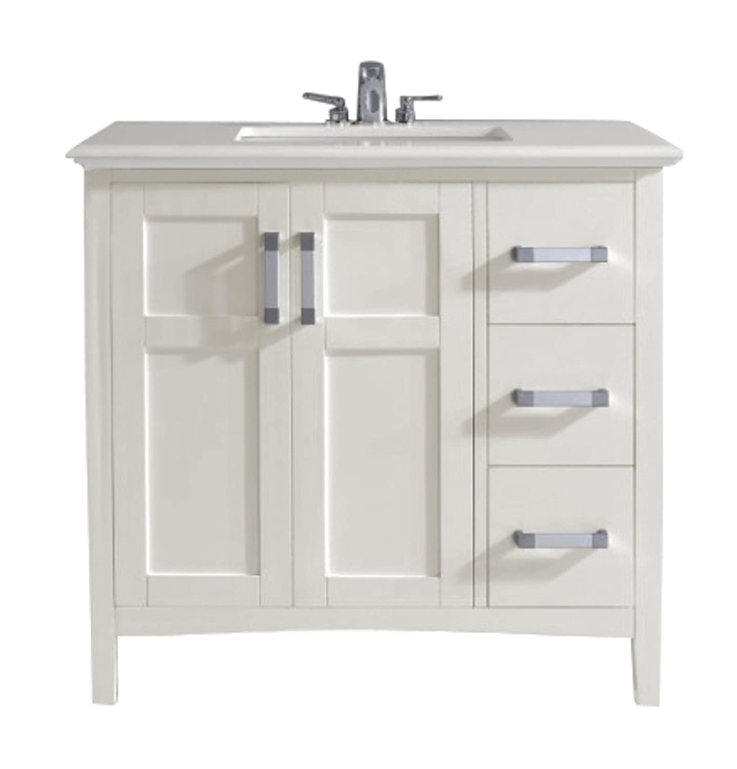 "Simpli Home Winston 36"" Bath Vanity with Quartz Marble Top White"