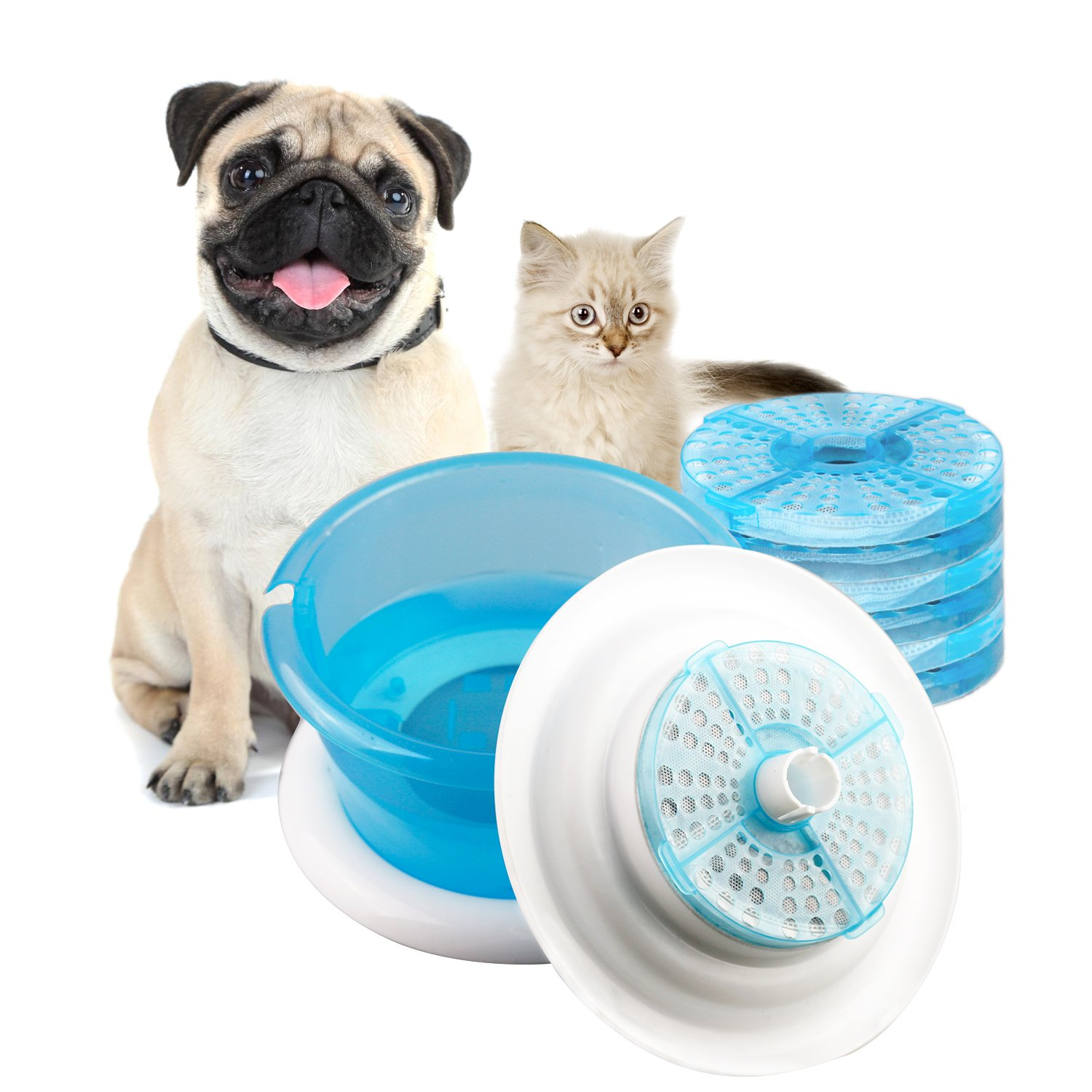 Pet Fountain Cat Water Fountain Bowl with Replaceable Filter Dog and Cat Drin...