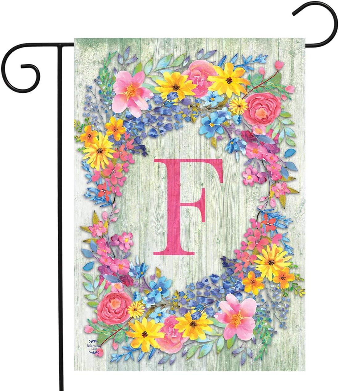 "Briarwood Lane Spring Monogram Letter F Garden Flag Floral Wreath 12.5"" x 18"""