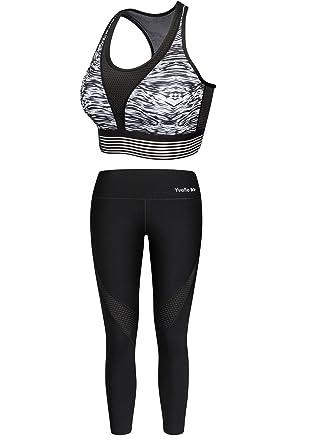 6f0efc3cd40c94 Yvette Sport Set Damen Fitness Sportbekleidung Sport Leggings Sports BH  Yoga Hose Trainingshose Sports Bra Streifen
