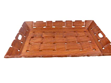 PMK madera pulgadas Cubiertos Bandeja 15X10, té o café Bandeja para servir, adorable bandeja