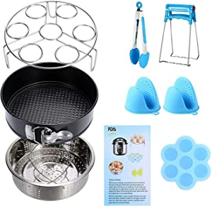 Instant Pot Accessories Set 11 Pcs 5,6,8Qt Steamer Basket Non-Stick Springform Pan, Steamer Basket, Egg Steamer Rack, Silicone Kitchen Tongs, Mini Mitts Fits 5,6,8Qt Instant Pot Pressure Cooker(Blue)