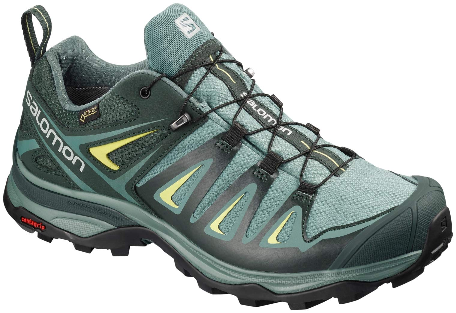 Salomon Women's X Ultra 3 Wide GTX Hiking Shoes, Artic/Darkest Spruce/Sunny Lime, 5.5 D(M) US by Salomon (Image #1)