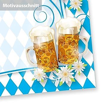 Briefpapier Bayrisch (250 Stück) Mit Rautenmuster Bayern , Bier Und Brezeln  Für Einladung Oder