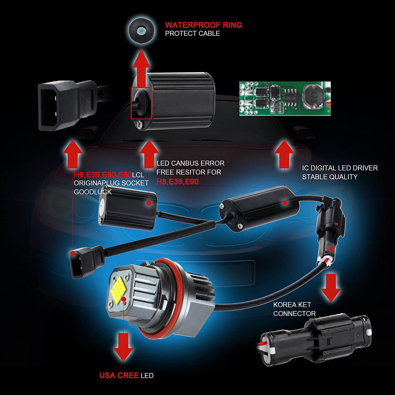 cciyu 2x Ultra White 80W E39 Error Free CREE LED Angel Eyes Halo Ring Marker Bulbs Replacement fit for BMW 5 6 7 Series X3 X 5 Fit E39 E53 E60 E63 E64 E65 E66 E83