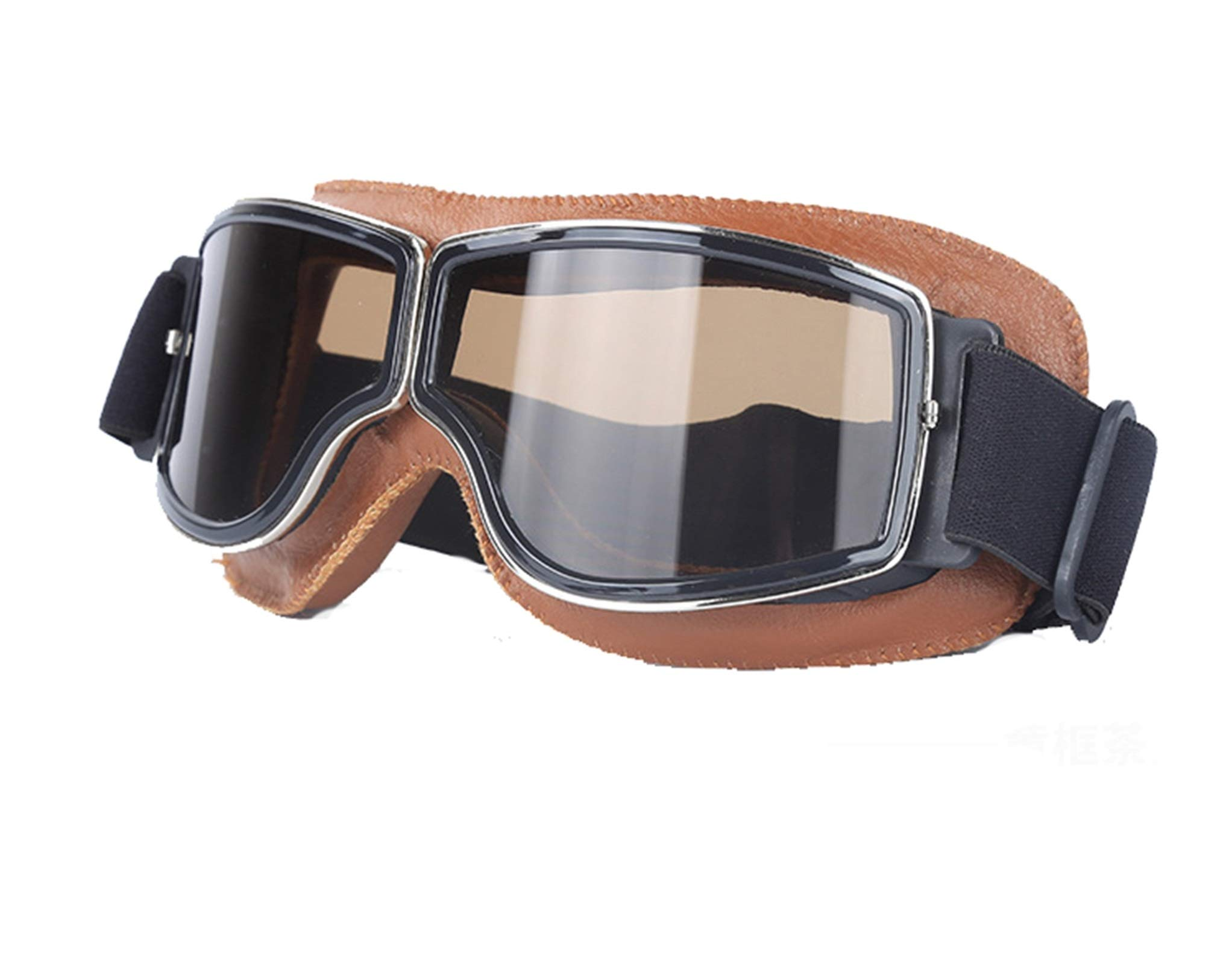 Adisaer Cycling Sunglasses Locomotive Retro Helmet mask Goggles Off-Road Cycling Goggles Brown Black for Adults