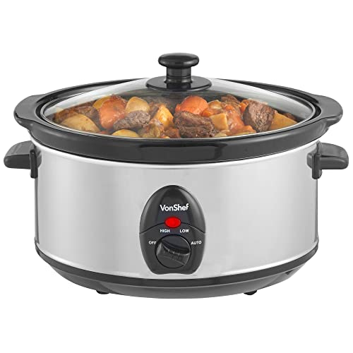 VonShef Electric Slow Cooker 3.5L Litres Stainless SteelRemovable Oval Oven to Table Dish with Toughened Glass Lid