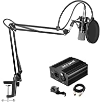 Neewer NW-700 Condenser Microphone Kit with 48V Phantom Power Supply, NW-35 Suspension Scissor Arm Stand, Shock Mount, Pop Filter for Home Studio Recording Broadcast YouTube Live Periscope (Black)