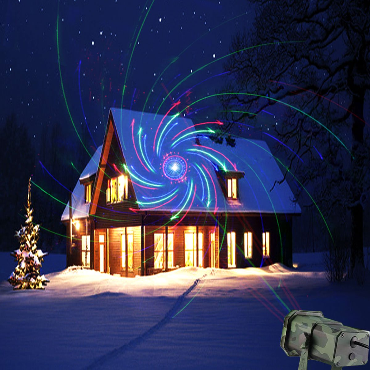 EVA Logik Outdoor Waterproof Laser Projector Light, Moving RGB 20 Patterns, with RF Remote Control & Timer, Perfect for Lawn, Party, Garden Decoration by Eva logik (Image #3)