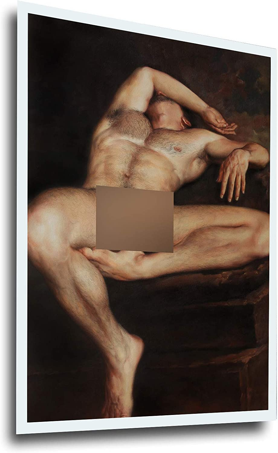 Art prints male nude painting canvas transfer from oil painting with hand-painted detail signed lying men for home wall Art Decor (24