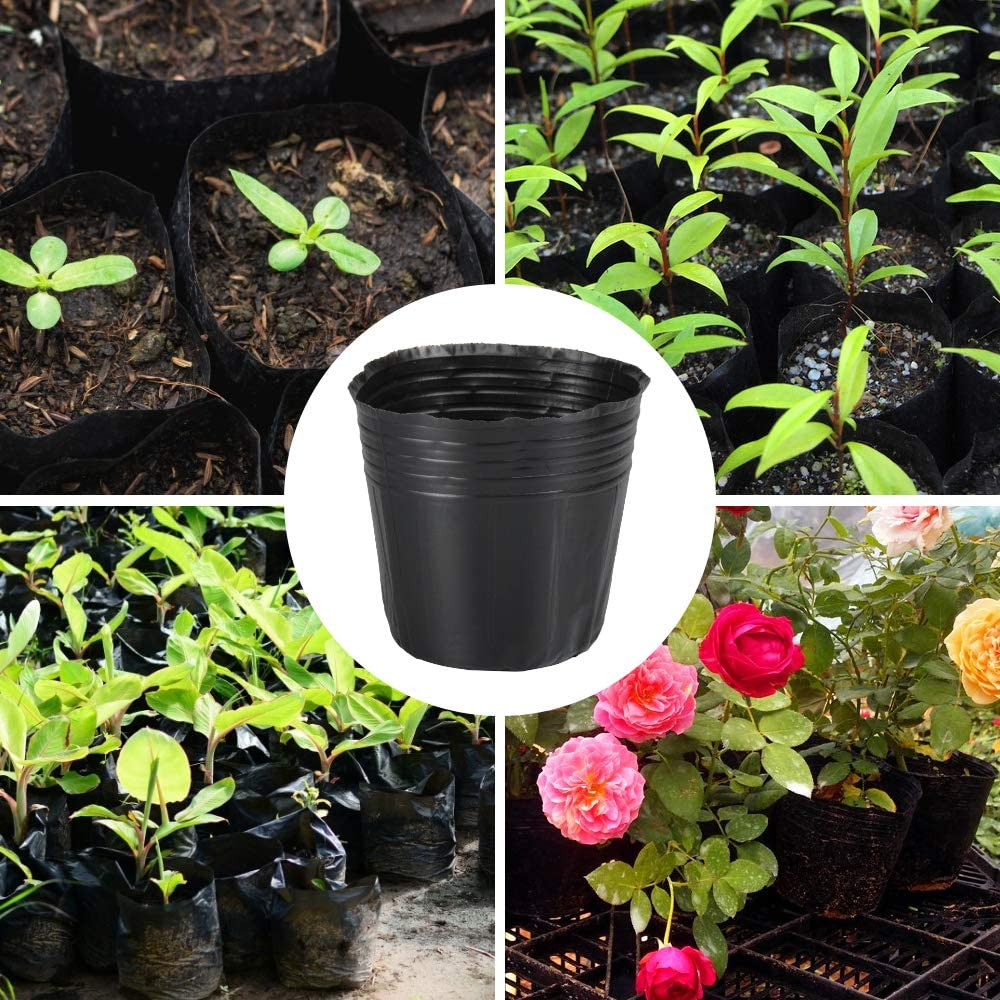 Indoor /& Outdoor Plant Nursery Pots for Flowers 124 Pieces Nursery Pots Plastic Seedlings Planter Round Black Seed Starting Pot Flower Plant Transplanted Nutrition Container