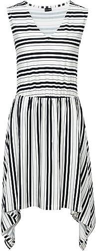 Neu Shirtkleid mit asymmetrischem Saum 906481 in Weiß//Schwarz gestreift 48//50