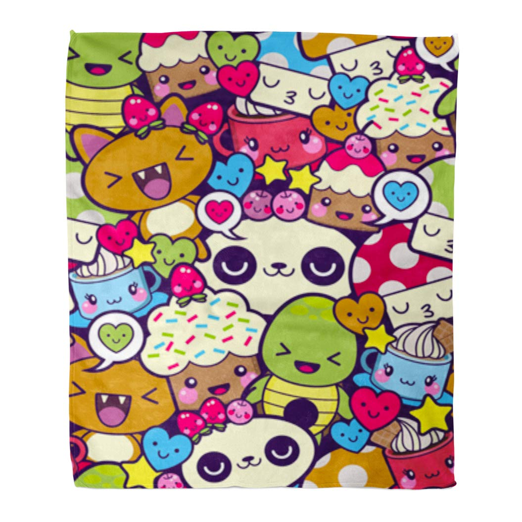 Golee Throw Blanket Pattern Bombing Cartoon Kawaii Panda Food Happy Cupcake Coffee 60x80 Inches Warm Fuzzy Soft Blanket for Bed Sofa by Golee