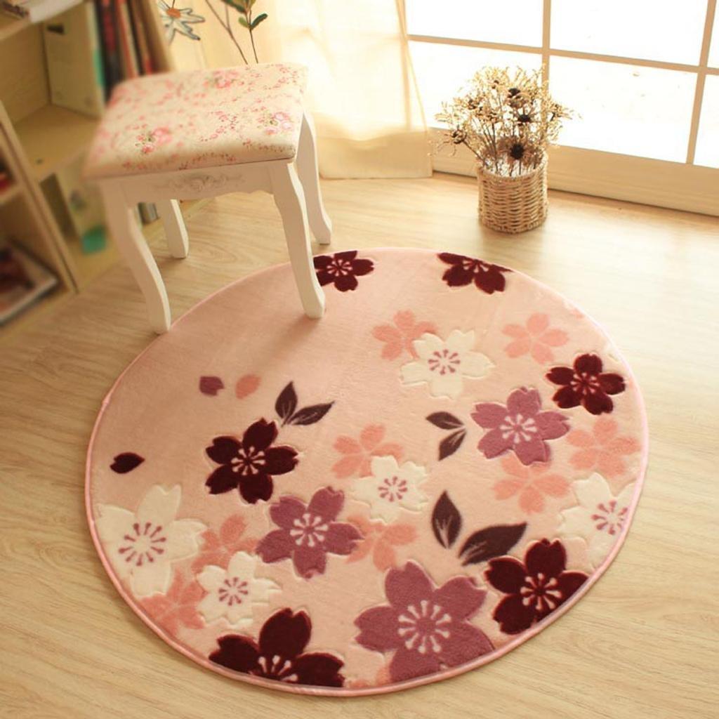 1 DYI Pastoral round mat, non-slip basket pad, computer swivel blanket, bedroom bedside carpet