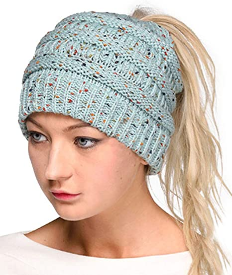 LOKIDVE Women's Ponytail Beanie Cap Winter Messy High Bun Ribbed Knit Hat-Mint best ponytail beanies