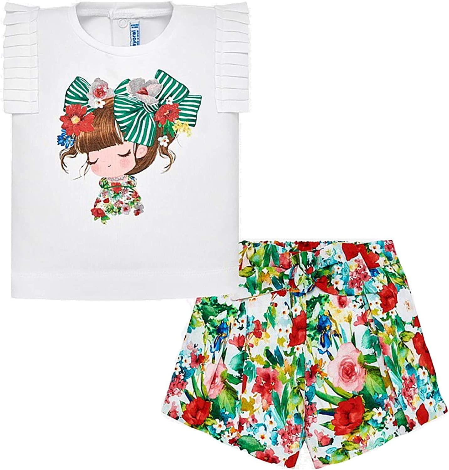Mayoral Green 1233 Printed Short Set for Baby-Girls