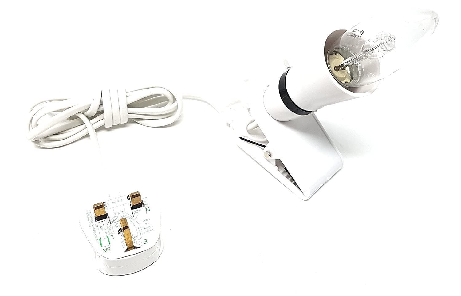 MainCore Clip On Lamp Holder Ideal for Indoor use//Kitchens//Workshops//Offices and Garages//2m Long Cable//UK Plug//60 Watt Max Lamp Bulb//On /& Off Function