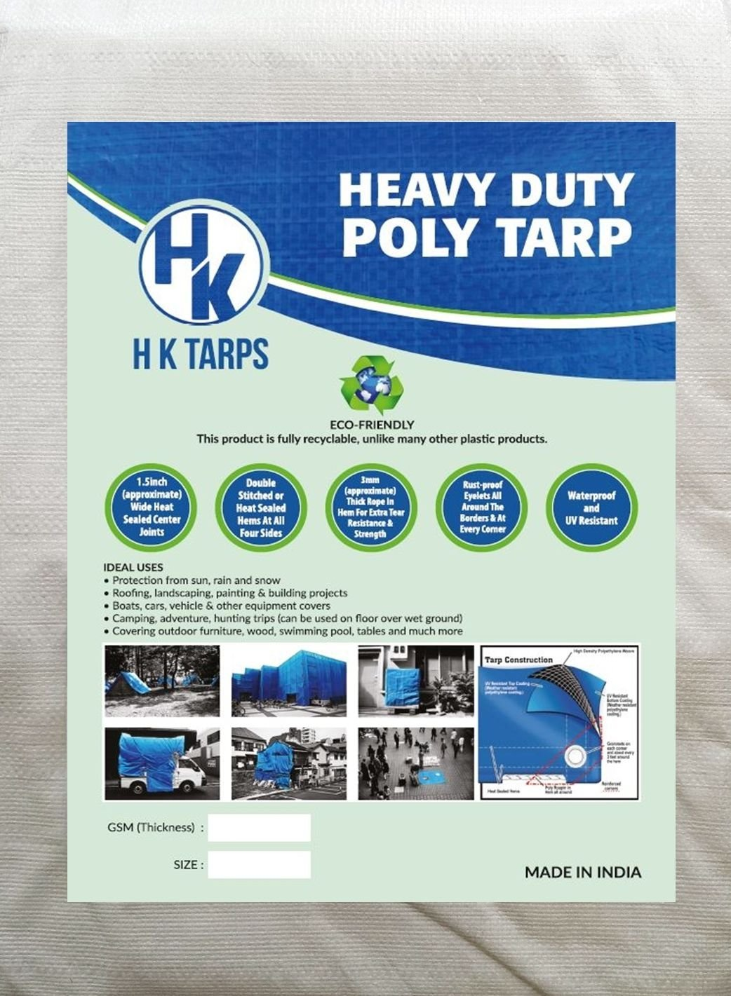 Light Duty Reinforced Tarpaulin All Purpose Canopy Poly Tarps 3Oz 6 Mil - White/Black (30' X 60' Feet) by H K Tarps