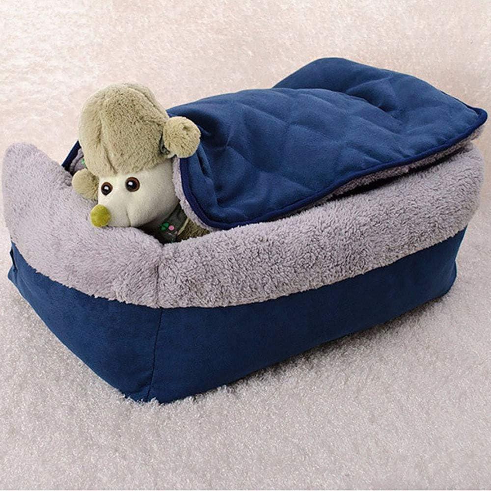 FREESOO-Panier-Lit-pour-Chien-Chat-3-en-1-Super-Doux-Confortable-M-M-Bleu miniature 9
