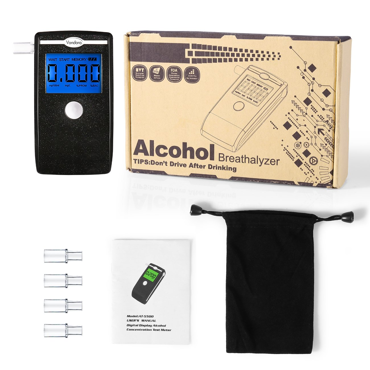 Breathalyzer Fannel Portable Breath Alcohol Tester Led Concentration Test Circuit Screen With Mouthpieces For Home Use 2018 New Black Health Personal Care
