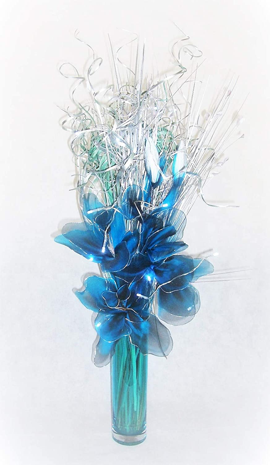 95cm tall blue & silver bouquet in glass vase with 20 LED Lights Link Products