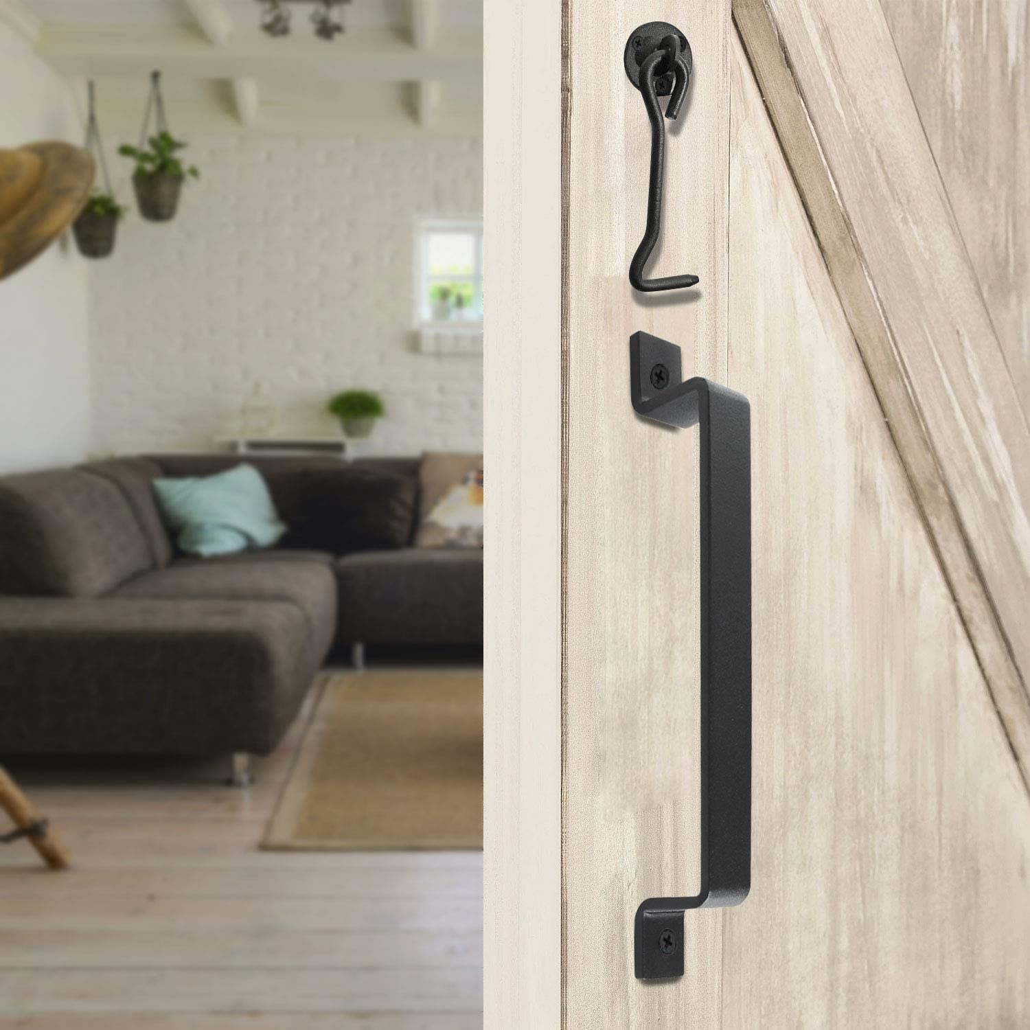 SDGINA Barn Door Handles 2 Pack 10 Inch Black Gate Handle with Hook and Eye Latch for Sliding Barn Doors Gates Garage Shed Fence