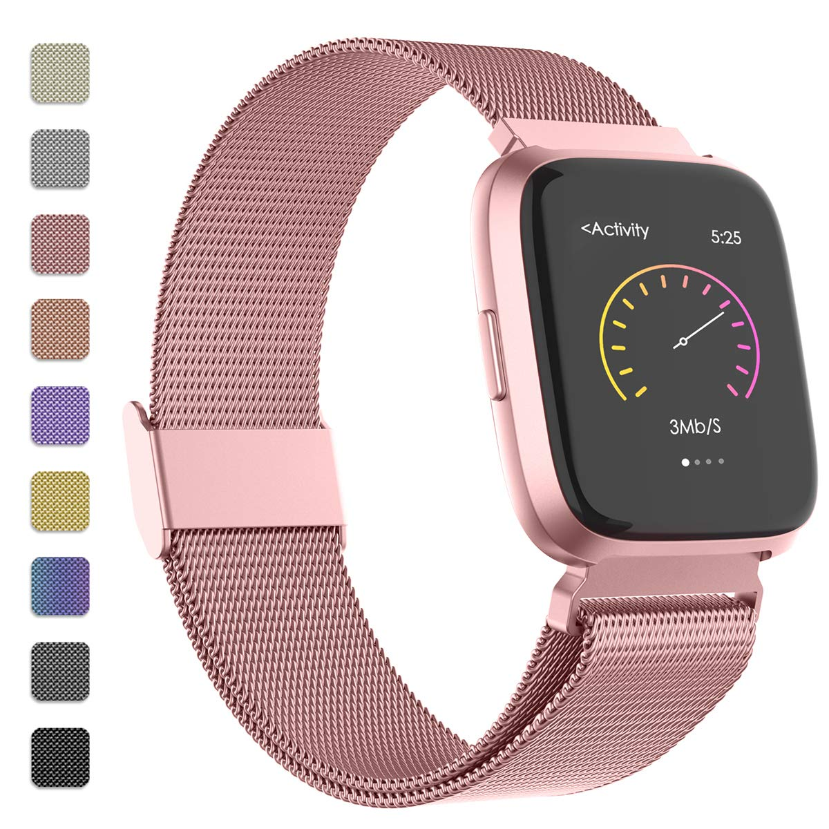 iGK Metal Replacement Bands Compatible for Fitbit Versa/Versa Lite Edition/Versa 2, Stainless Steel Loop Metal Mesh Bracelet Unique Magnet Lock Wristbands by iGK