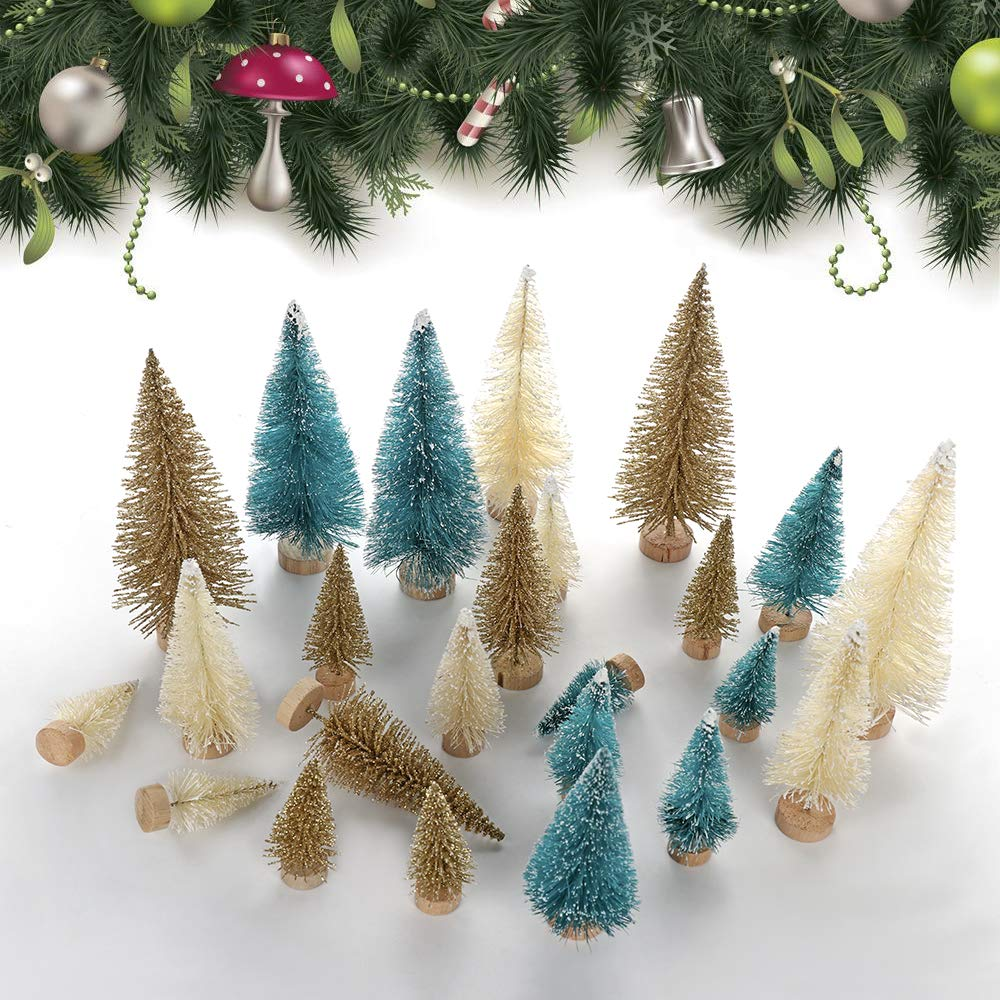 24pcs Artificial Sisal Christmas Tree Mini Pine Tree with Wood Base for DIY Room Decor Home Table Top Decoration Diorama Models Christmas Ornaments