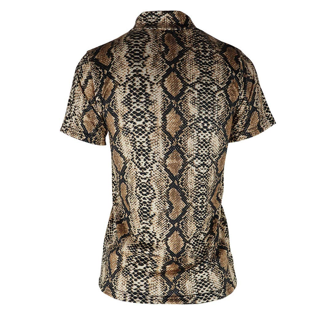 102a1d7e Women Blouse Sexy Snake Printed Summer Short Sleeve Turtleneck Slim Fit  Shirts Top at Amazon Women's Clothing store:
